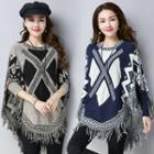 Patterned Fray Knit Top