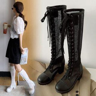 Lace Up Block-heel Mesh Tall Boots