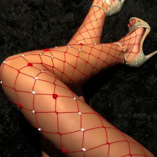 Heart Rhinestone Fishnet Tights Red - One Size