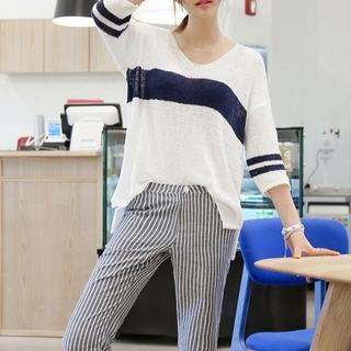 Striped 3/4-sleeve Knit Top