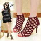High-heel Perforated Ankle Boots