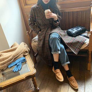 Notch-lapel Woolen Plaid Wrap Coat Brown - One Size
