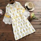 Short-sleeve Printed Hooded Dress