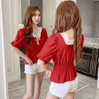 Short-sleeve Lace Trim Shirred Chiffon Top