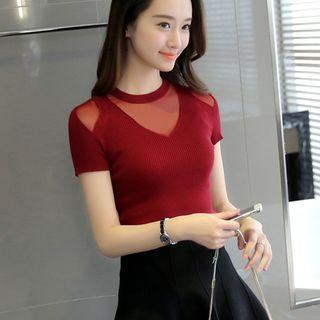 Mesh Panel Short-sleeve Knit Top
