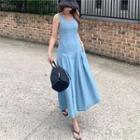 Dart-detail Flared Maxi Denim Pinafore Dress Light Blue - One Size