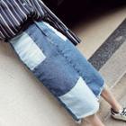 Patchwork Midi Denim Skirt