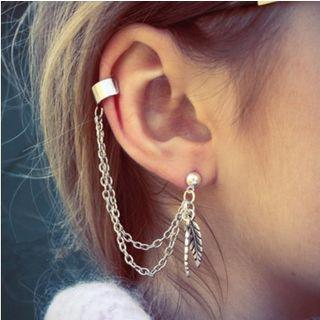 Leaf & Chain Cuff Earring 1 Pair - Silver - One Size