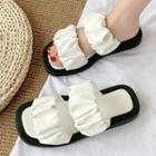 Crinkled Platform Slide Sandals