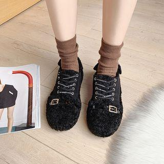 Furry Rhinestone Buckled Lace-up Shoes