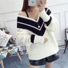 Contrast Trim V-neck Chunky Sweater