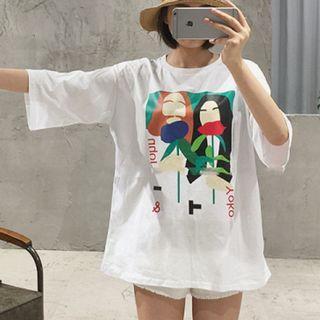 Print Elbow Sleeve T-shirt