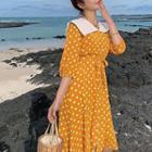 Polka Dot Elbow-sleeve Collared A-line Dress
