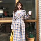 Double-breasted Plaid Trench Coat With Sash Yellow - One Size
