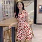 Printed Short-sleeve Mini A-line Chiffon Dress