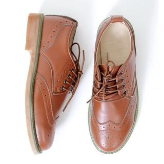 Genuine Leather Lace-up Oxfords
