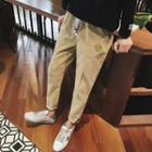 Smiley Face Embroidered Corduroy Pants