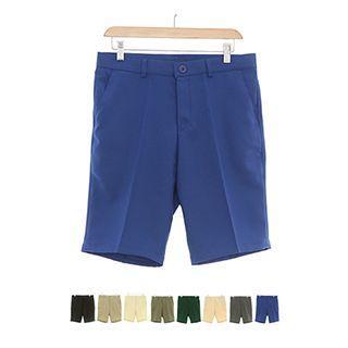 Zip-front Linen Blend Colored Shorts