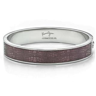 Leather Pattern Sculp Bangle(l) Brown - One Size