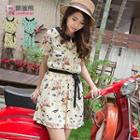 Peter Pan Collar Print Chiffon Dress