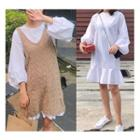 Lantern-sleeve A-line Dress / Long Sweater Vest