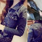 Distressed Studded Denim Jacket