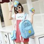 Set Of 4: Printed Canvas Backpack + Cross Bag + Pouch + Drawstring Pouch
