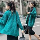 Cable-knit Cardigan Green - One Size