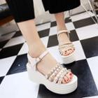 Chain Detail Platform Sandals