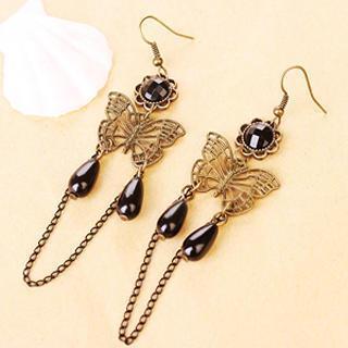 Butterfly Water Drop Shinny Earrings  Black - One Size