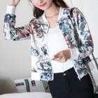 Floral Print Zip-up Baseball Jacket