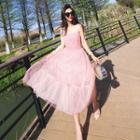 Sleeveless Sheer Floral Dress
