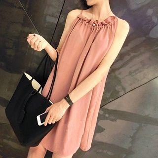 Sleeveless Drawstring Chiffon Dress Apricot - One Size