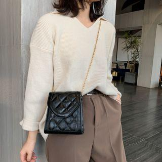 Faux Leather Chained Quilted Crossbody Bag