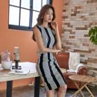 Striped Sleeveless Sheath Dress