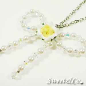 Sweet Yellow Rose Beaded Ribbon Necklace