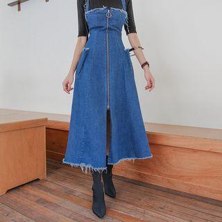 Denim A-line Maxi Pinafore Dress Dark Blue - One Size