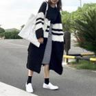 Striped Color Block Chunky Knit Long Cardigan