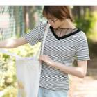 Mesh Panel Short-sleeve Striped T-shirt