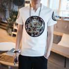 Short-sleeve Embroidery Panel Top