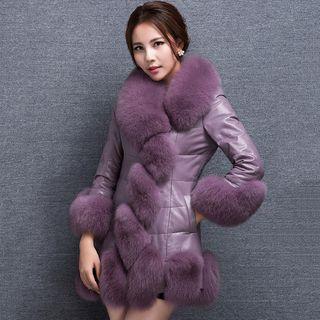 Furry Trim Faux Leather Long Coat