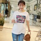 L Me-lettering Floral Print T-shirt