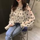 Long-sleeve Heart-pattern Chiffon Top White - One Size