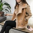 Double Breasted Faux Shearling Vest