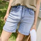 Band-waist Rollup Washed Denim Shorts