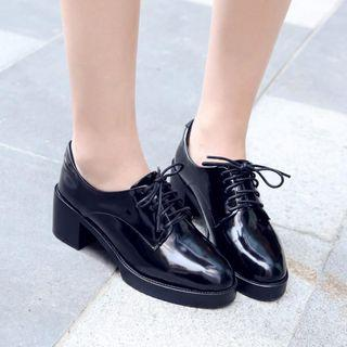 Genuine Leather Chunky Heel Oxfords