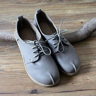 Genuine Leather Lace Up Flats
