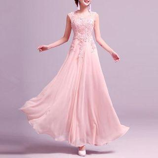 Lace Applique Sleeveless A-line Evening Gown