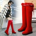 Furry Trim Hidden Wedge Over-the-knee Boots