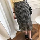 Textured Checked Midi Skirt